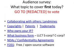 Ask the audience to vote for which topic to cover FIRST